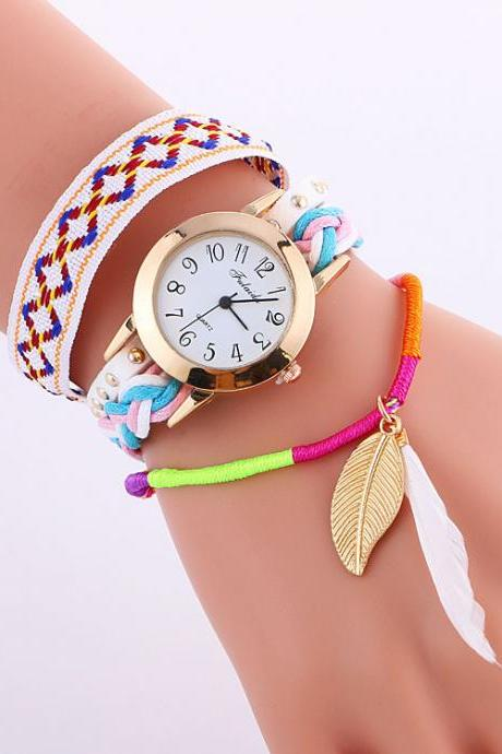 Popular Melange Knitting Feathers Leaves Quartz Watch