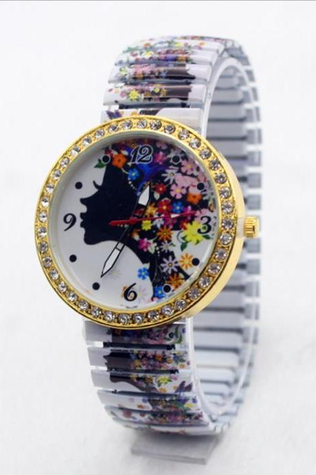 Beauty Women Flower Crystal Watch