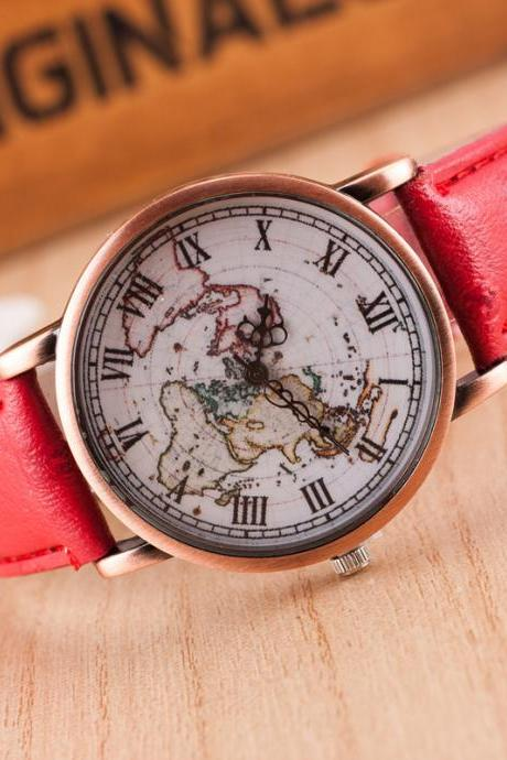 Fashion Map Roman Numerals Watch