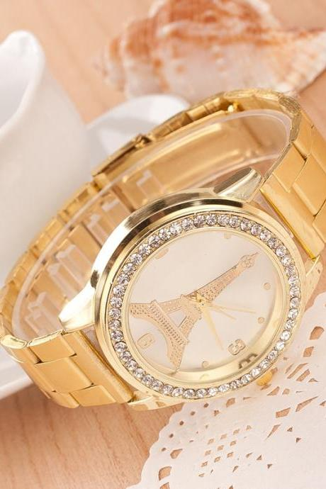 Golden Crystal Tower Print Watch