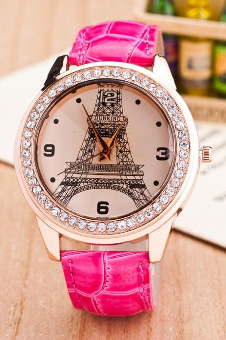 Fashion Eiffel Tower Crystal Watch