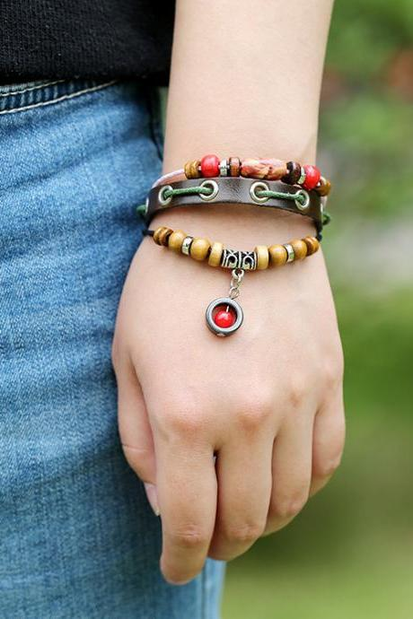Simple Fashion Beaded Leather Bracelet