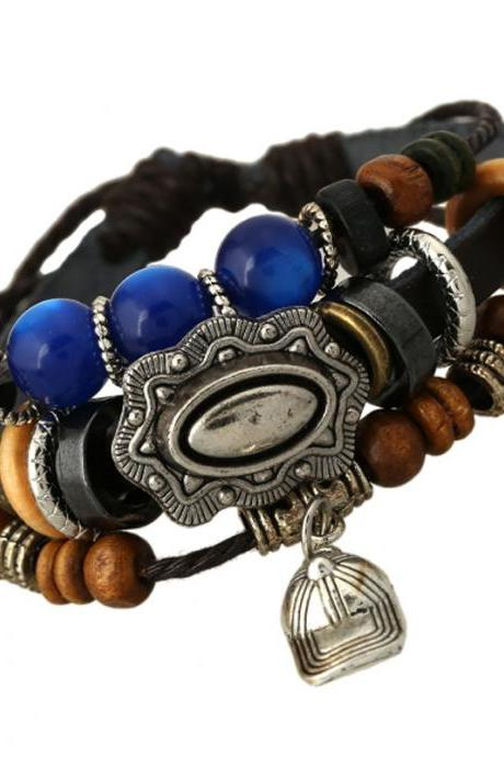 Hat Leather Beaded Bracelet