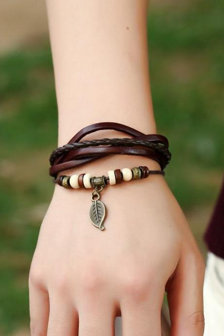 Punk Style Woven Leaf Pendant Leather Bracelet