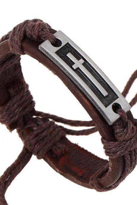 Alloy Cross Retro Leather Bracelet
