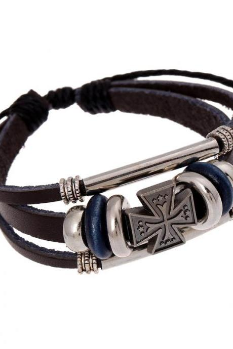 Hot Sale Cross Beaded Leather Bracelet