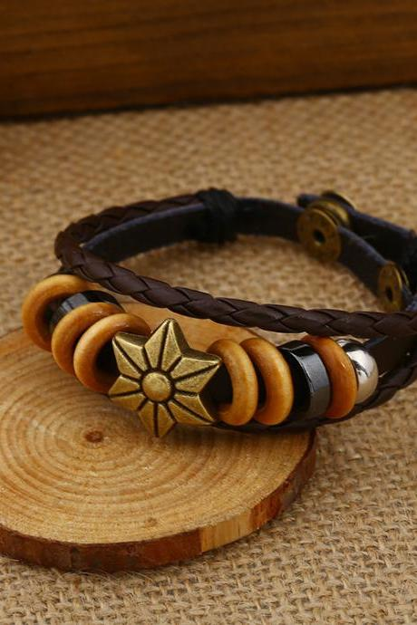 Fashion Beaded Woven Leather Bracelet