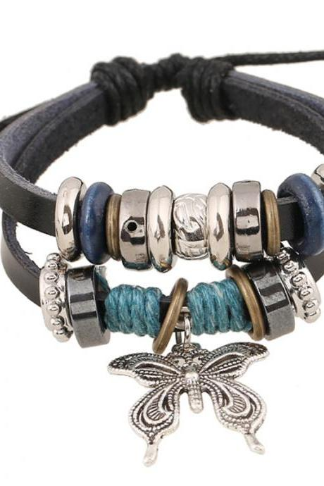 Butterfly Pendant Beaded Leather Bracelet