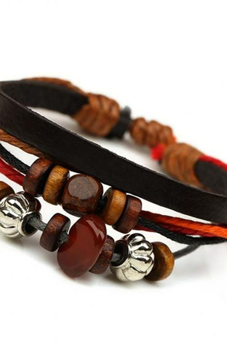 Colorful Beaded Leather Multilayer Bracelet