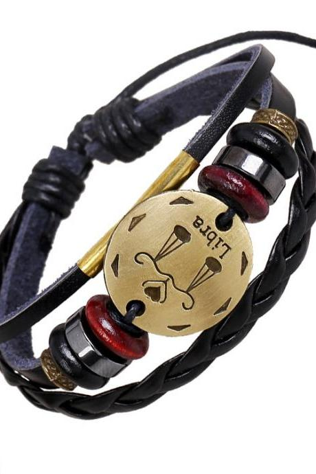 Libra Constellation Woven Leather Bracelet