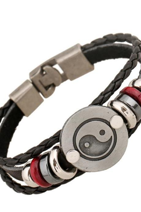Alloy Gossip Leather Beaded Bracelet