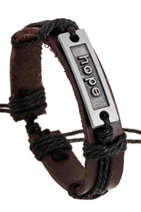HOPE Woven Leather Bracelet