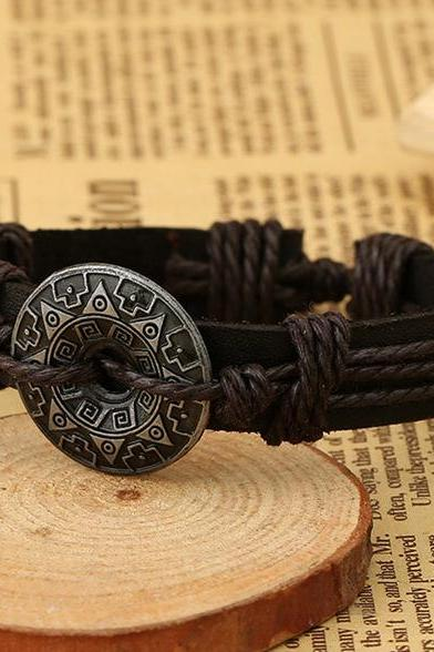 Alloy Flower Decorate Woven Bracelet