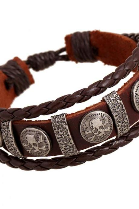 Personality Skull Leather Woven Bracelet