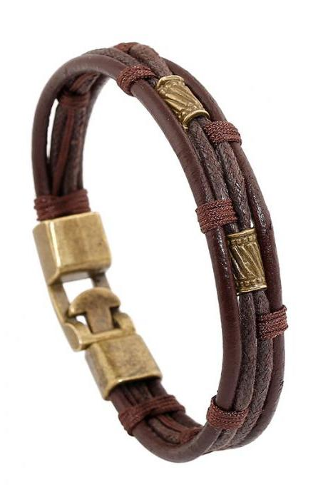 Multilayer Woven Leather Bracelet