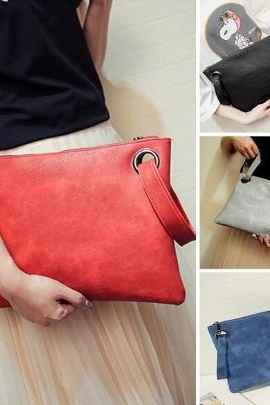 New Fashion Women Solid Clutch Bag Synthetic Leather Envelope Bag Clutch Handbag