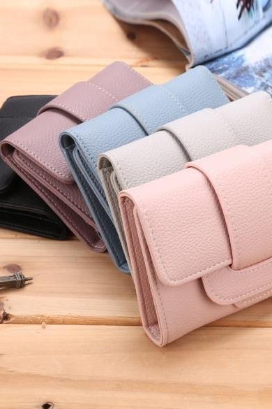 Fashion Women's Solid Trifold Wallet Coin Purse Card Holder With Strap Hasp Closure