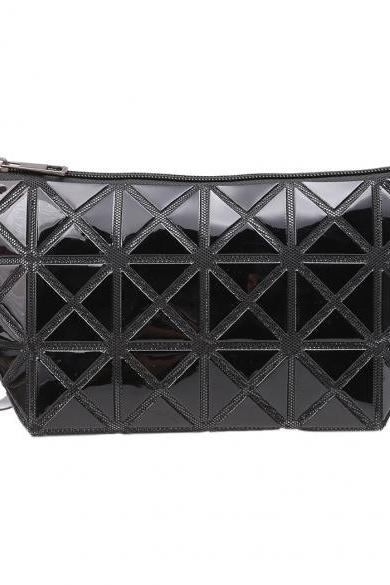 New Fashion Women Foldable Geometric Polished Lattice Clutch Bag