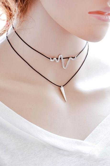 Korean fashion creative multi paragraph Necklace