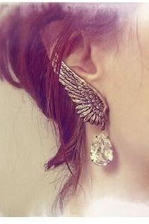Fashion Angel's Wings Left Single Clip Earrings