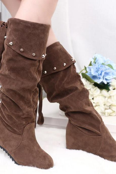 Suede Increased Back Lace Up High Boots