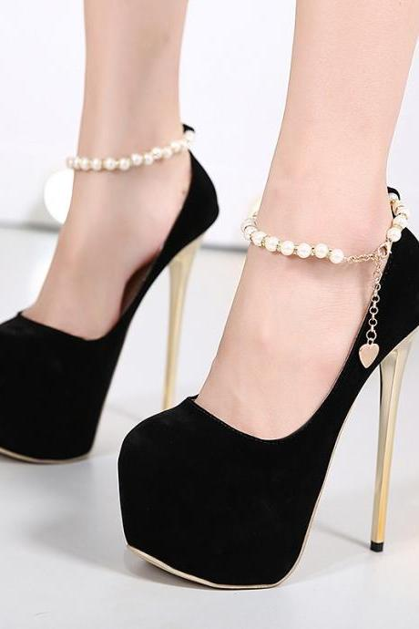 High Platform Pearl Ankle Strap Stiletto Heel Shoes