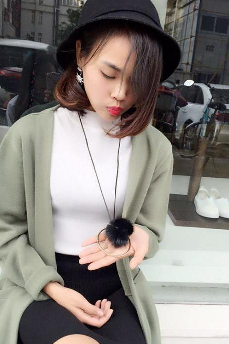 Autumn and winter long sable all-match simple ring ball sweater chain
