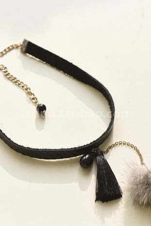 Fashion models mink ball Pearl Pendant Necklace tassel long short