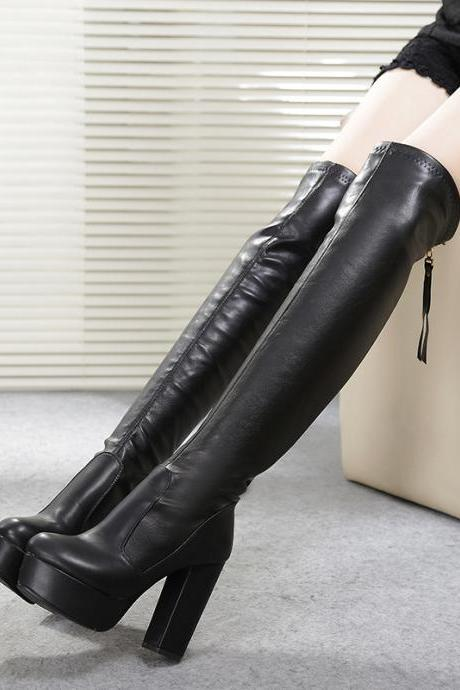 Fashion Over-Knee Chunky Heel High Boots