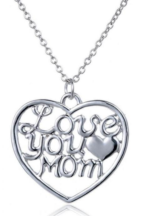 Silver Heart Shaped 'Love You Mom' Pendant Necklace