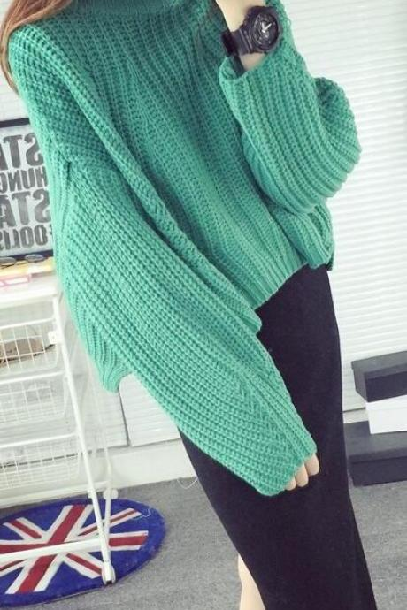 Pull Over High Neck Batwing Sleeve Short Sweater