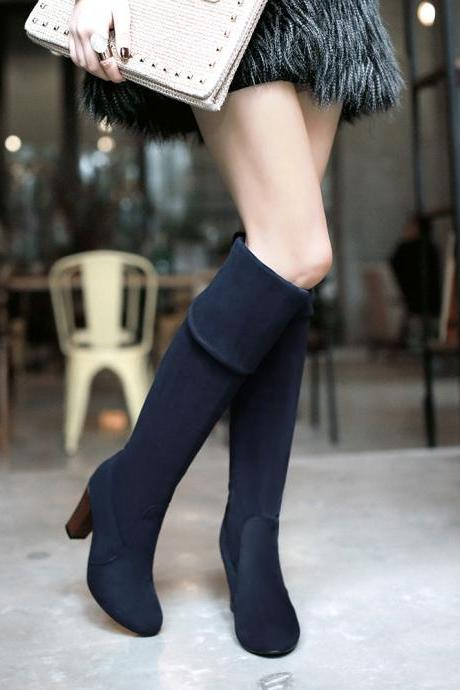 Adjustable Over Knee Chunky Heel High Boots