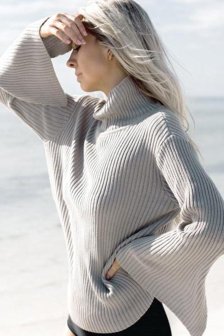 Fashion Loose Bell Sleeve Ribbed Sweater