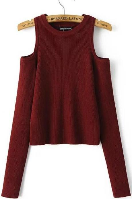 Cold Shoulder Crew Neck Knitted Long Sweater