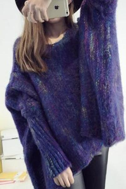 Bat Sleeve Cloak Loose Knitting Sweater