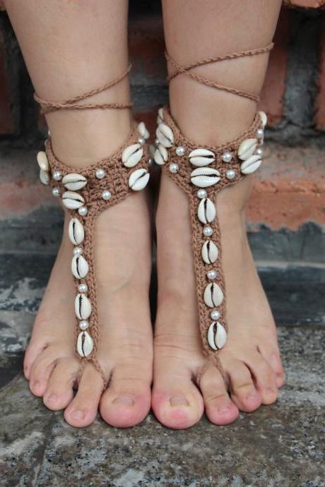 Explosion hook flower woven shell Beaded Anklet