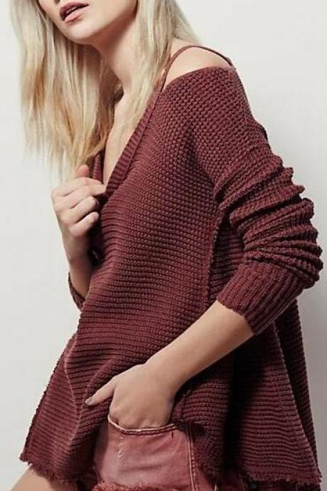 Bare Shoulder Loose Long Sweater