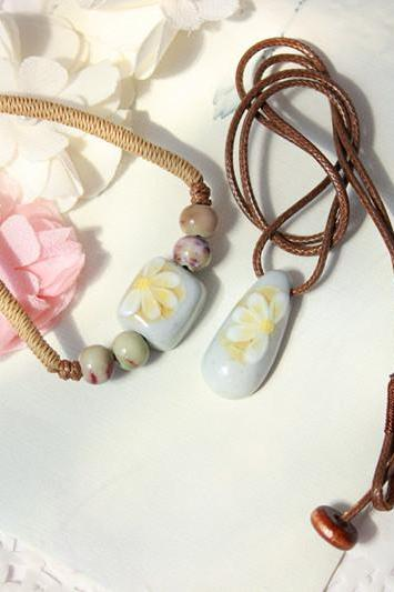 Jingdezhen kiln ceramic beads Long Necklace