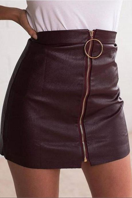 Ring Decorate Front Zipper Black Short PU Skirt