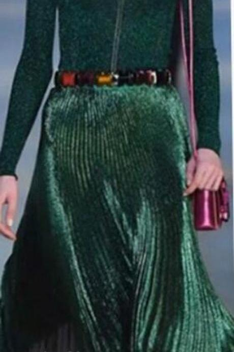 Pleated Glossy Velvet High Waist Long Skirt