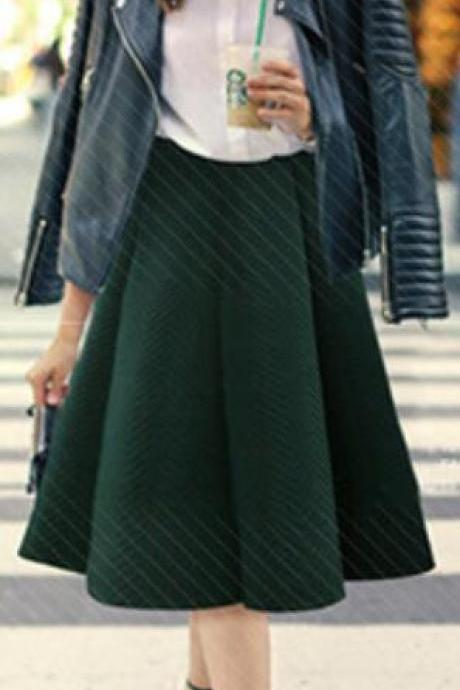 Pure Color A-Line Pleated Back Zipper Long Skirt