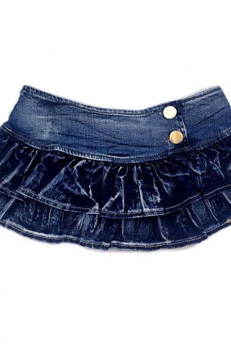Multi-Layers Flared Low Waist Mini Denim Skirts