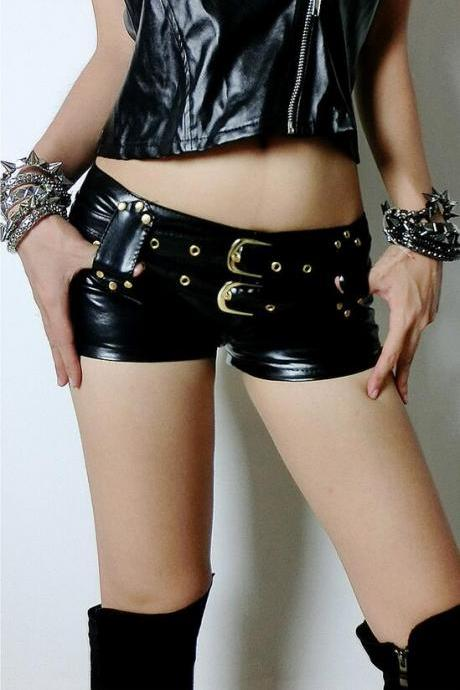 Black PU Buckles Low Waist Women's Shorts