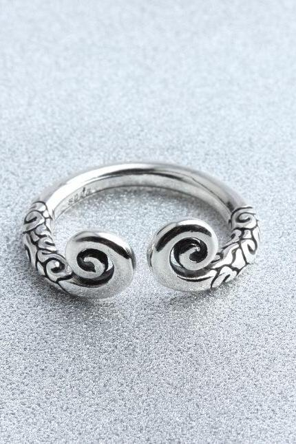 Pure white brass copy twist Thai silver restoring ancient ways is contracted iron ring