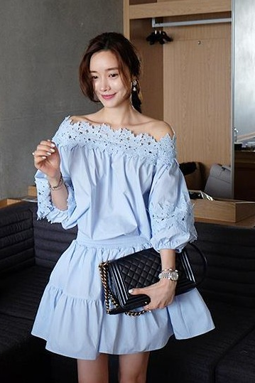 Off Shoulder Hollow Out Lace Hubble-Bubble Sleeve Dresses