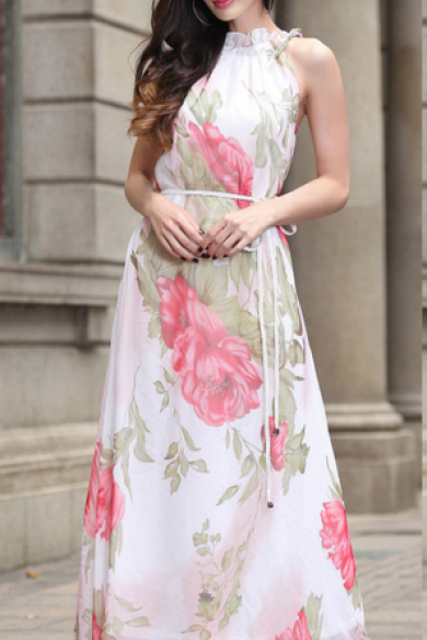 Bohemia Hanging Neck Printed Sleeveless Chiffon Dress