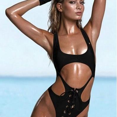 Sexy Hot Style Lacing Bind One Pieces Swimwear