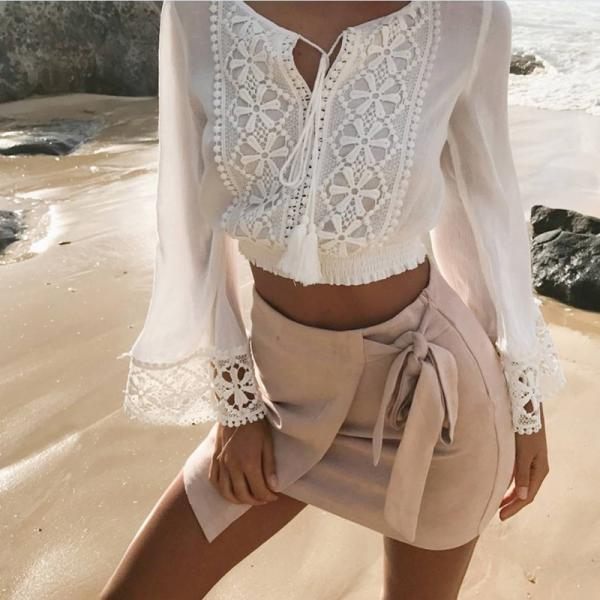 Fashion Sexy V-Neck Long Sleeve Lace T-shirt