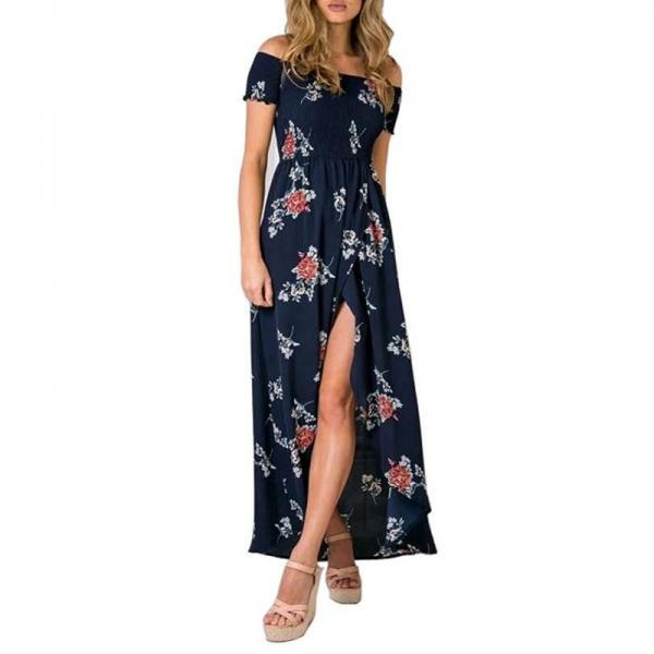 Printed Strapless Seaside Holiday Beach Long Dress