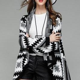 Geometry Lapel Color Irregular Loose Long Cardigan